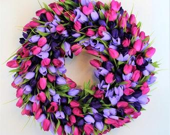 Tulip Wreath, Easter Wreath, Spring Wreath, Purple Tulip Wreath, Summer Wreath, Spring Floral, Shades of Purple Tulip Wreath, Easter Decor