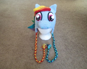 Crocheted Inspired Rainbow Dash Crocheted Hat----My little Pony-----Costume---Photo Prop----Fall/Winter Hat