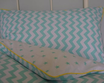 100% COTTON Children Single Duvet Cover Set Boys Girls Mint Chevron zig zag Star