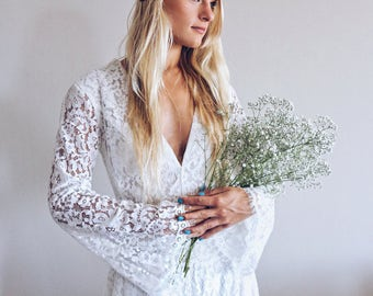 Nala Dress / Bohemian Wedding Dress / Boho Long Sleeves Lace Dress / 70s hippie