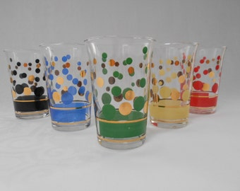Polka Dot Juice Glasses in Harlequin Colours and Gold set of 5 1960's   #10247