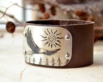Viking leather bracelet, Odin Flying Eagle, Men German Silver Bangle, Etching Wolf, Gift For Dad, Unisex Bangle, Wild and Free stamping