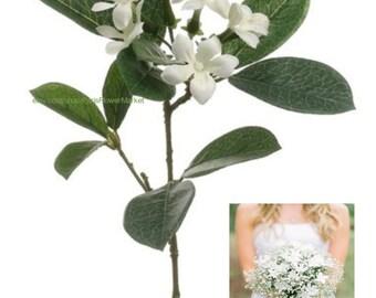 "NWT 14"" Silk Stephanotis Flower Spray Pick -White, DIY Wedding Flowers, 6 Stephanotis Flowers"