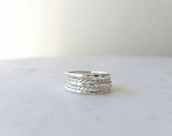 Sterling Silver Rings - Silver Rings - Stacking rings -Ring set of 5 - Hammered twist rings. Handmade jewellery.