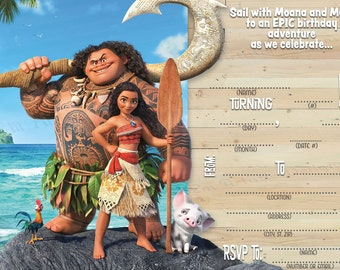 INSTANT DOWNLOAD Moana inspired birthday party invitations} A fresh take on write on invitations} Maui} Print at home}Digital Copy}5in x 7in