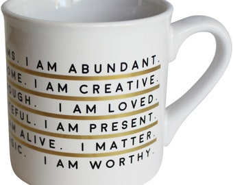 I Am Affirmation - Gold Metallic 16 Ounce Mug