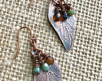 Etched copper leaf earrings with natural fall colored Czech glass bead accents