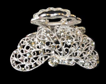 New Silver Filigree Clear Rhinestone 2''  Hair Clip Claw