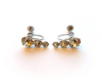 Vintage Coro Signed Silver with Stunning Crystal Rhinestones Earrings