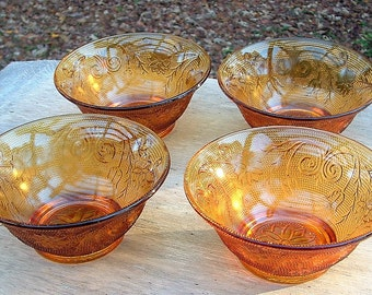 """ZERO SHIPPING! Vintage Set of Four Individual Salad Bowls Indiana Glass """"Sandwich"""" Tiara Exclusive - Gold - Golden Amber"""