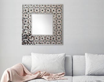 "Geometric Wall Art, Square Wall Mirror, Vanity Mirror, Framed Mirror, Bathroom Mirror, Custom Mirror, Free Delivery, Art, ""Pale Rose"" – 52cm"