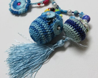 Beads and Crochet Key Chain, Crochet Accessories for Handbags, Crochet Purse Accessories,  Crochet Key Chain,