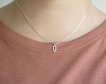 GEA - Delicate sterling silver minimal necklace with oval circle pendant.