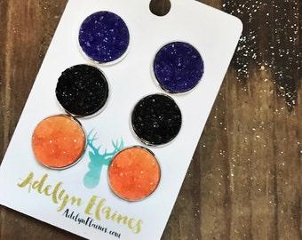 Halloween Earrings: Purple, Black & Orange 14 mm Druzy Earring Studs Set of 3