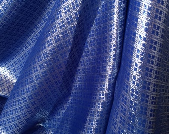 Blue and Silver metallic color of brocade fabric, diamon design for wedding dress, valance and  decoration, by the yard.