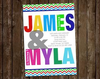 Colorful Sibling Invite-Big Names