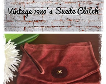 Vintage 1980's brick color suede fold over clutch