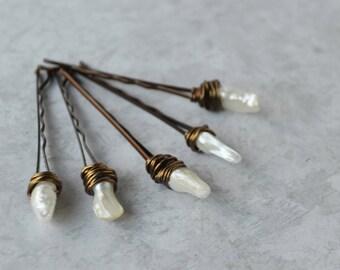 Pearl Bobby Pins, Wedding Bob Hair Pins with Pearls, Bridal Pearl Hair Accessories
