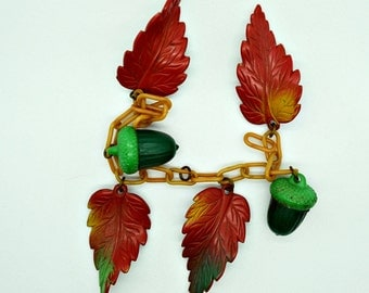 Celluloid Acorns and Leaves for Repurpose