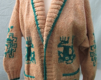 Hand knitted Aztec Shawl neck Cardigan