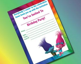 Trolls Birthday Invitations