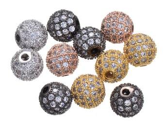 5pcs 8mm CZ Pave Bead, European Beads, Brass Bead,Cubic Zirconia Pave Bead PZ0031