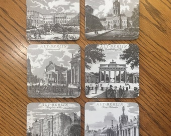 Drink Coasters Set of 6 ALT-BERLIN Vintage 1960s By SCHUBERTH West Germany, Historic Sites of Germany Coasters Black & White Drawing Prints