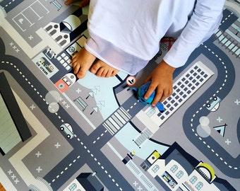 car play mat kids rug cars and roads pretend play city grey