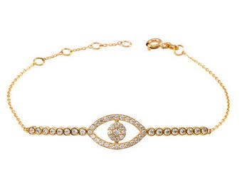 SOLID 14K GOLD Bracelet inlaid zircons center line and/w watchful eye charming