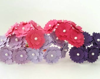 1'' Purple paper flowers / 1'' pink paper flowers / flowers with stems