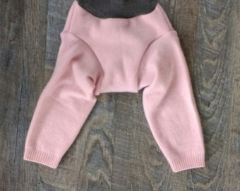 Upcycled Pink Medium Cashmere Wool Longies - Cloth Diaper Cover - Baby Toddler Pants - M - Shower Gift