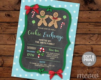 Cookie Exchange Christmas Party Invitations X-Mas Holiday Season Invites Festive INSTANT DOWNLOAD Jolly Fun Decorations Printable Editable