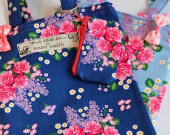 Children's Mini Bag, Girls School Bag, Children's Book Bag, Floral Tote Bag, Bag and Coin Purse, Ditsy Print Bag, Lunch Bag, Bag for Girls