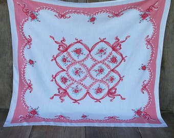 Vintage Cotton Table Cloth  Vintage Tablecloth 1940s 1950s Small table cloth White Coral Pink Red Mint