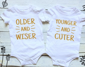 Older and Wiser & Younger and Cuter Twin Outfits, Twin Onesies, Twin Bodysuits, Gift For Twins, Set of 2 Bodysuits, Baby Shower Gifts, Twins