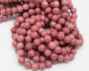 6mm or 8.5 mm , Rhodonite Smooth Round , 15.5 Inch