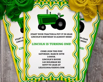 Tractor Birthday Party Invitation - Green or Red
