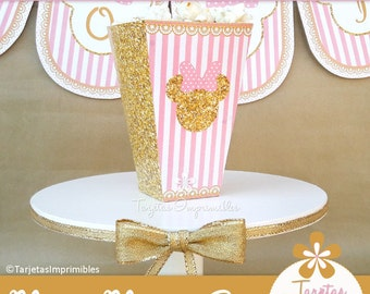 Box for popcorn Minnie Mouse Gold, style romantic pink and simile glitter. Immediate delivery. PDF.