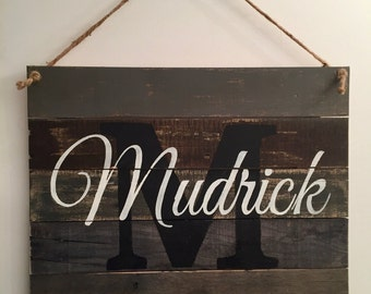 Wood Name Sign, Pallet Name Sign, Rustic Family Est. Sign, Distressed Personalized Name Sign, Personalized Wedding Gift,  Barn wedding