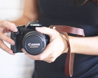 Extra long leather camera wrist strap