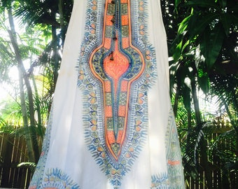 Vintage 70's Dashiki maxi dress