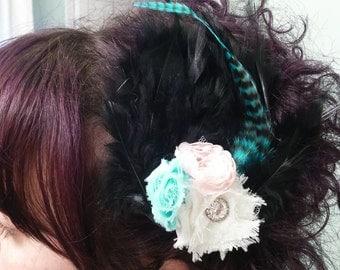 Black Feather Hair Piece