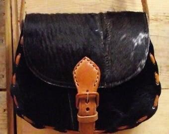 Vintage Pony Hair Leather Shoulder Bag/70's Brown Leather Real Hide Purse/Hippie Glastonbury Festival Hobo Bag/Horse Hair Laced Messenger