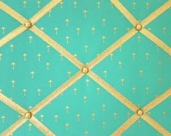Palm Tree French Memo Board - Palm Tree Message Board - Gold Pin Board - Gold Fabric Ribbon Board - Teal Command Center - Teal Memory Board
