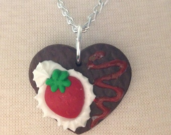 Strawberry Chocolate Heart Pendant