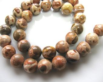 Jasper beads, Safari Jasper, 10 and 1 half inch, 34 beads, 8mm, Jewelry supply B-1374