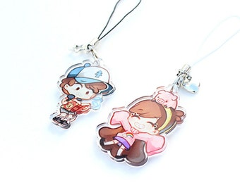 Dipper, Mabel - (Gravity Falls) Hand-Drawn Double Sided Front & Back Acrylic Charms with Phone Strap
