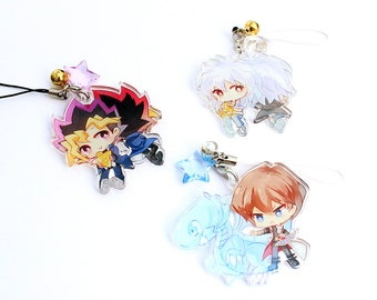 Deluxe Hand-Drawn Double Sided Front & Back Anime Acrylic Charm with Phone Strap