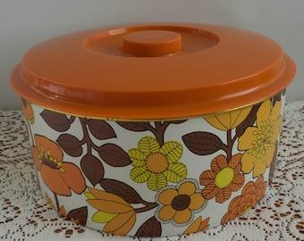 Retro Vintage Willow Australia Lidded Cake Tin - Psychedelic Flower Power - Retro Vintage Caravan