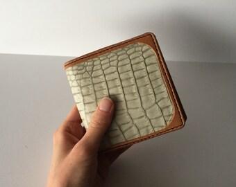 Handmade leather wallet. Card wallet. Embossed crocodile skin leather wallet.